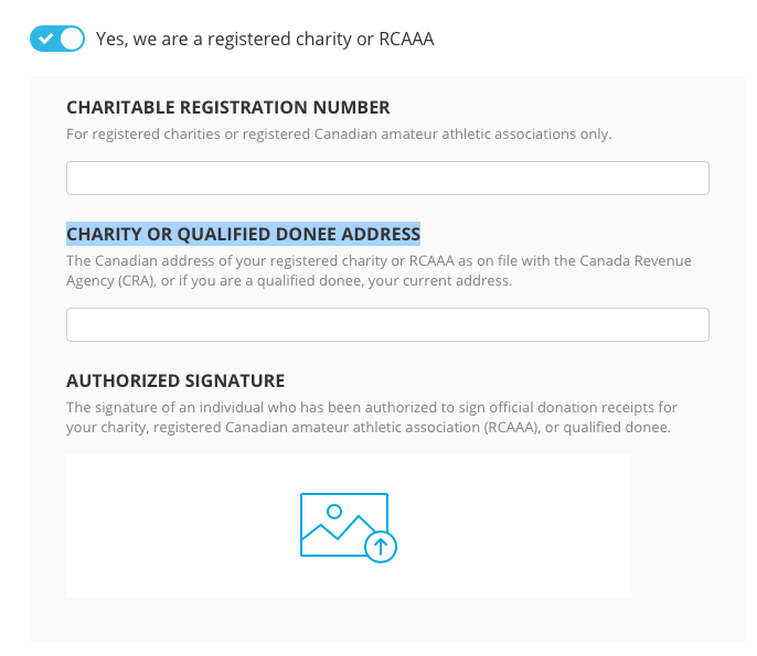 Tax deductible receipts for canadian charities chuffed support tick the tick box and enter your charitable registration number your charity or qualified donee address and authorized signature negle Image collections