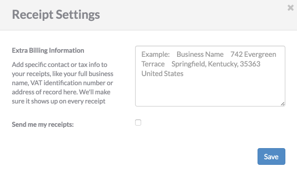 how can i view receipts or add additional information qwilr help