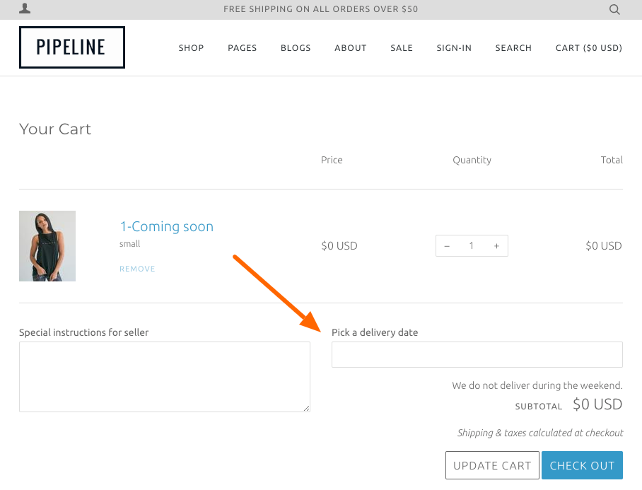 Add a delivery date option to your Cart - Pipeline Documentation