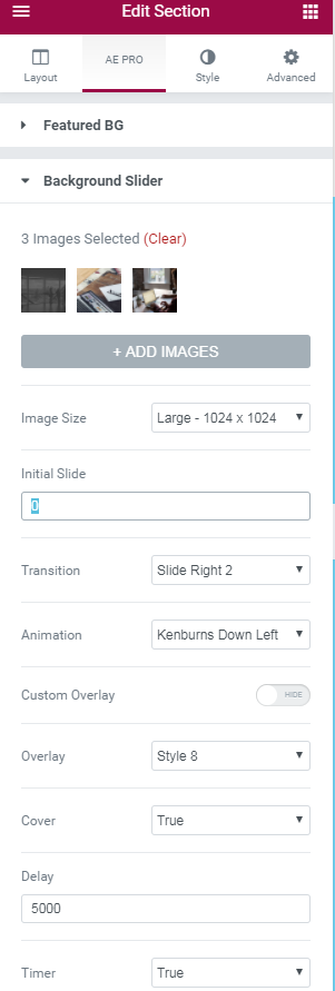 Background Slider - AnyWhere Elementor Pro Documentation