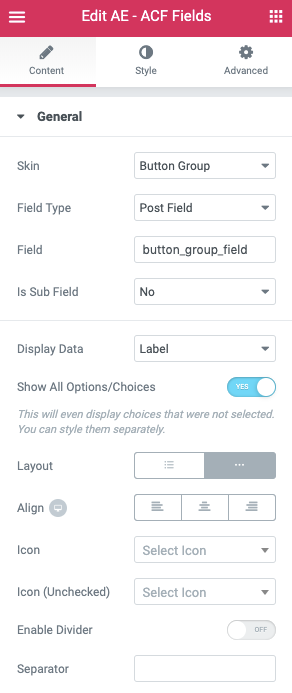 Using ACF Button Group Field in AnyWhere Elementor Pro