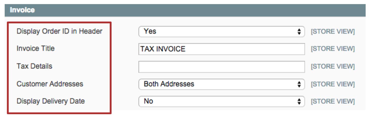 Invoice Pdf Settings Magento 1