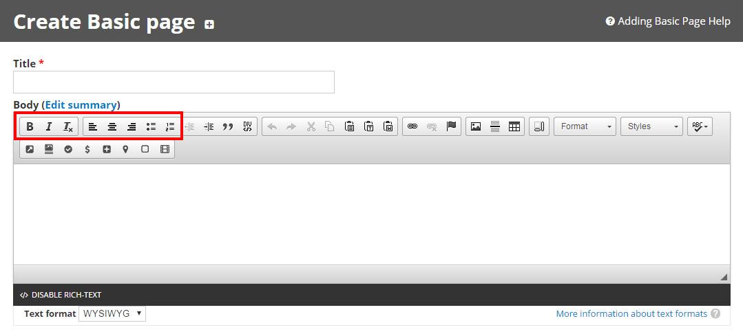 WYSIWYG Basics - Web Express Support