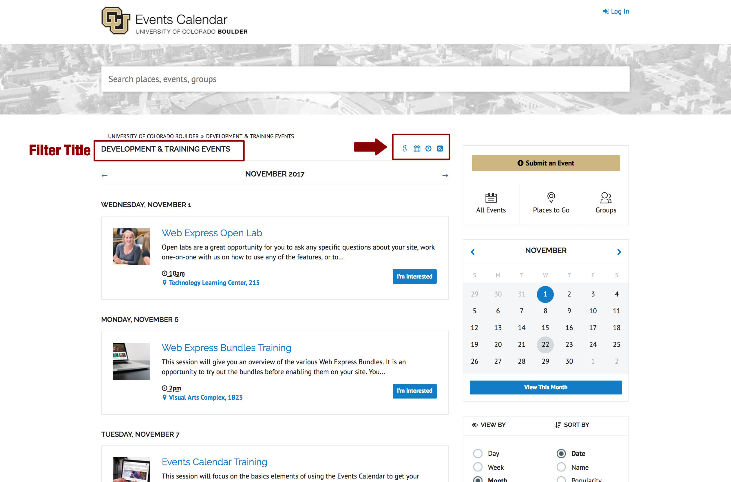 Creating an RSS Feed of Events | Campus Events Calendar | University