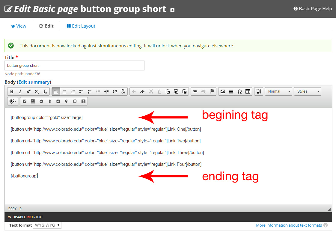 Button Group Shortcode - Web Express Support