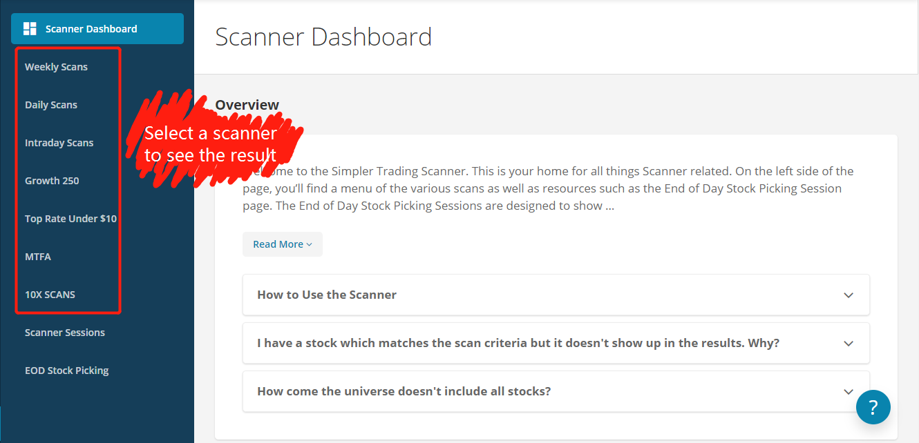 Welcome to the Simpler Trading Scanner - Simpler Trading