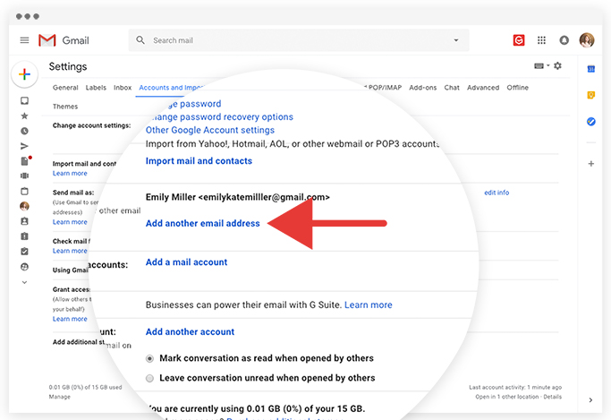 How to change my email address on google account