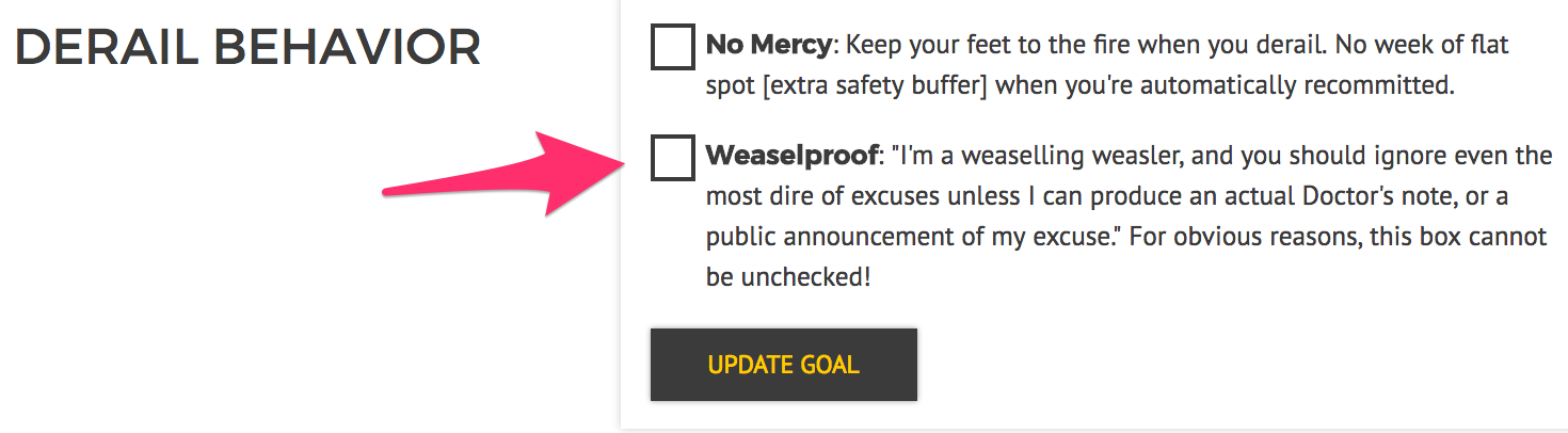 The un-undoable weaselproof setting