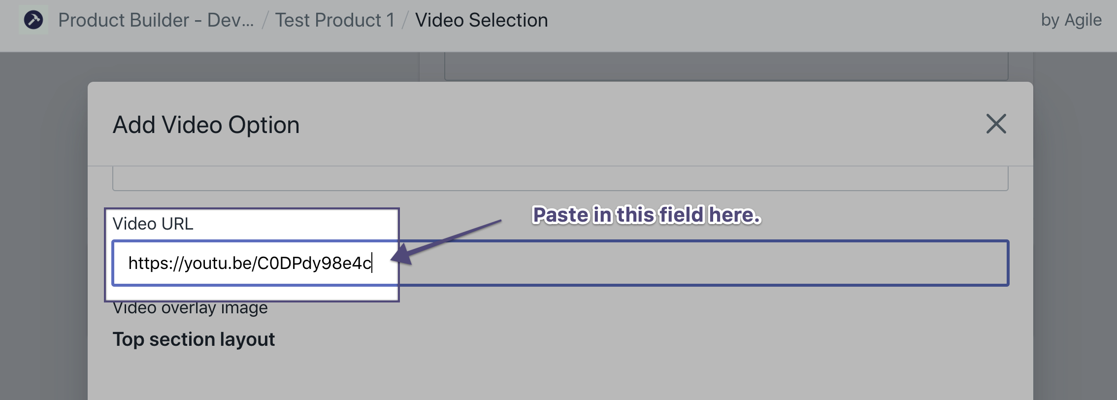 Product Builder - Adding the Video URL to the Video Selection.