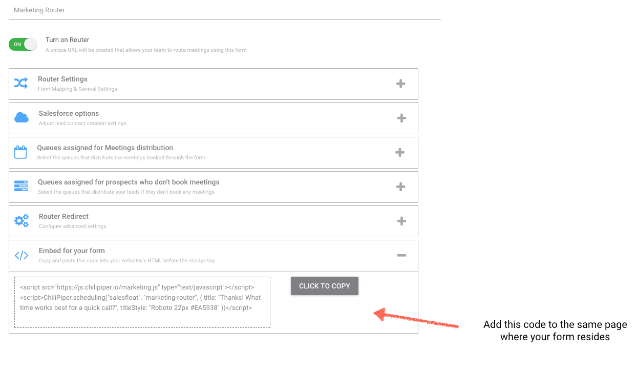 Embed Code to your HubSpot Page - Chili Piper Knowledge Base