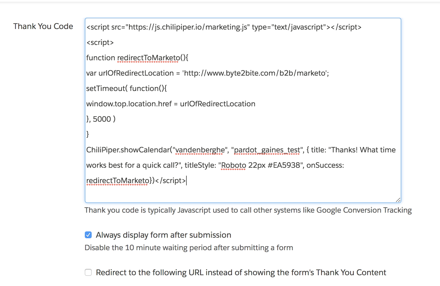 Redirecting Parent page from Pardot iFrame - Chili Piper Knowledge Base