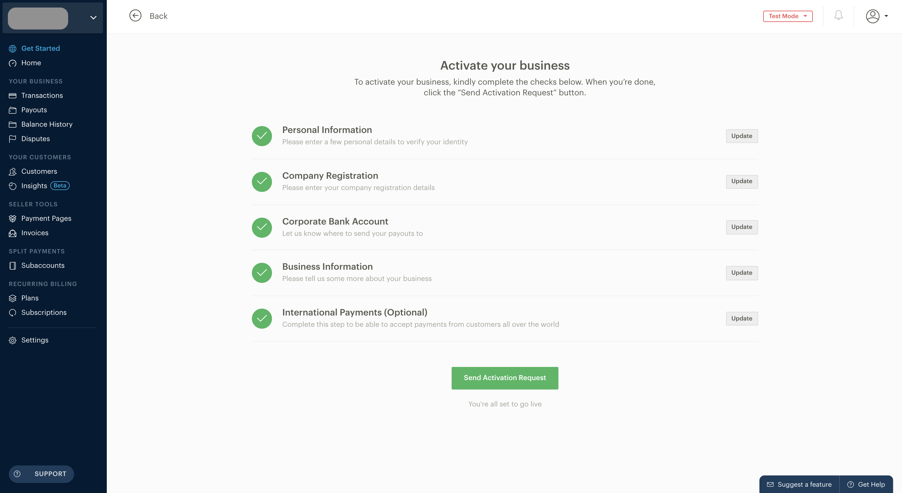 How do I activate my Paystack Registered Business