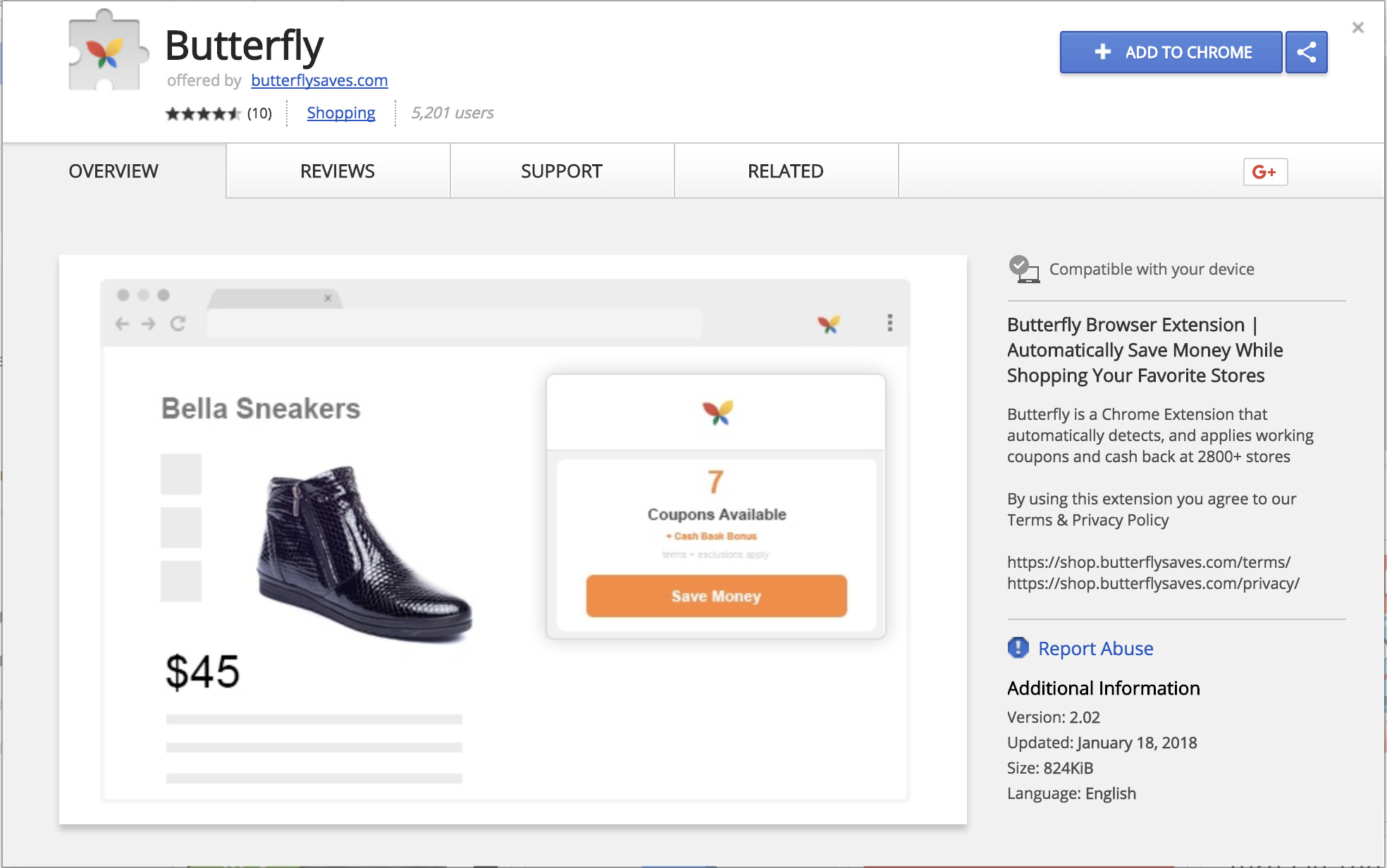 Butterfly Chrome Extension