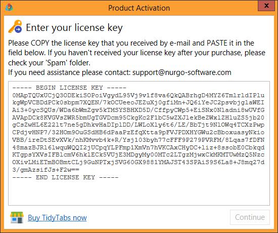 Registering TidyTabs - Nurgo Software Knowledge Base