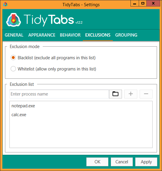 TidyTabs - Settings - Exclusions