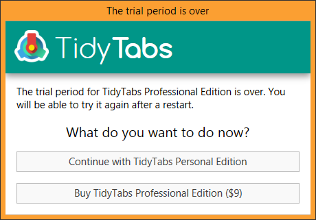 TidyTabs - The trial period is over