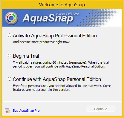 AquaSnap welcome screen