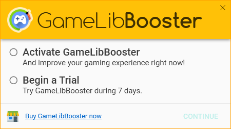 GameLibBooster - Welcome screen