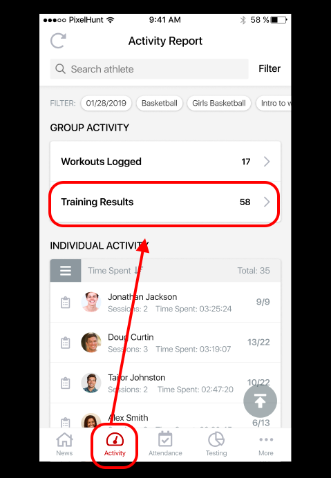 Coach App: See Today's Logged Test Results - PLT4M Resource