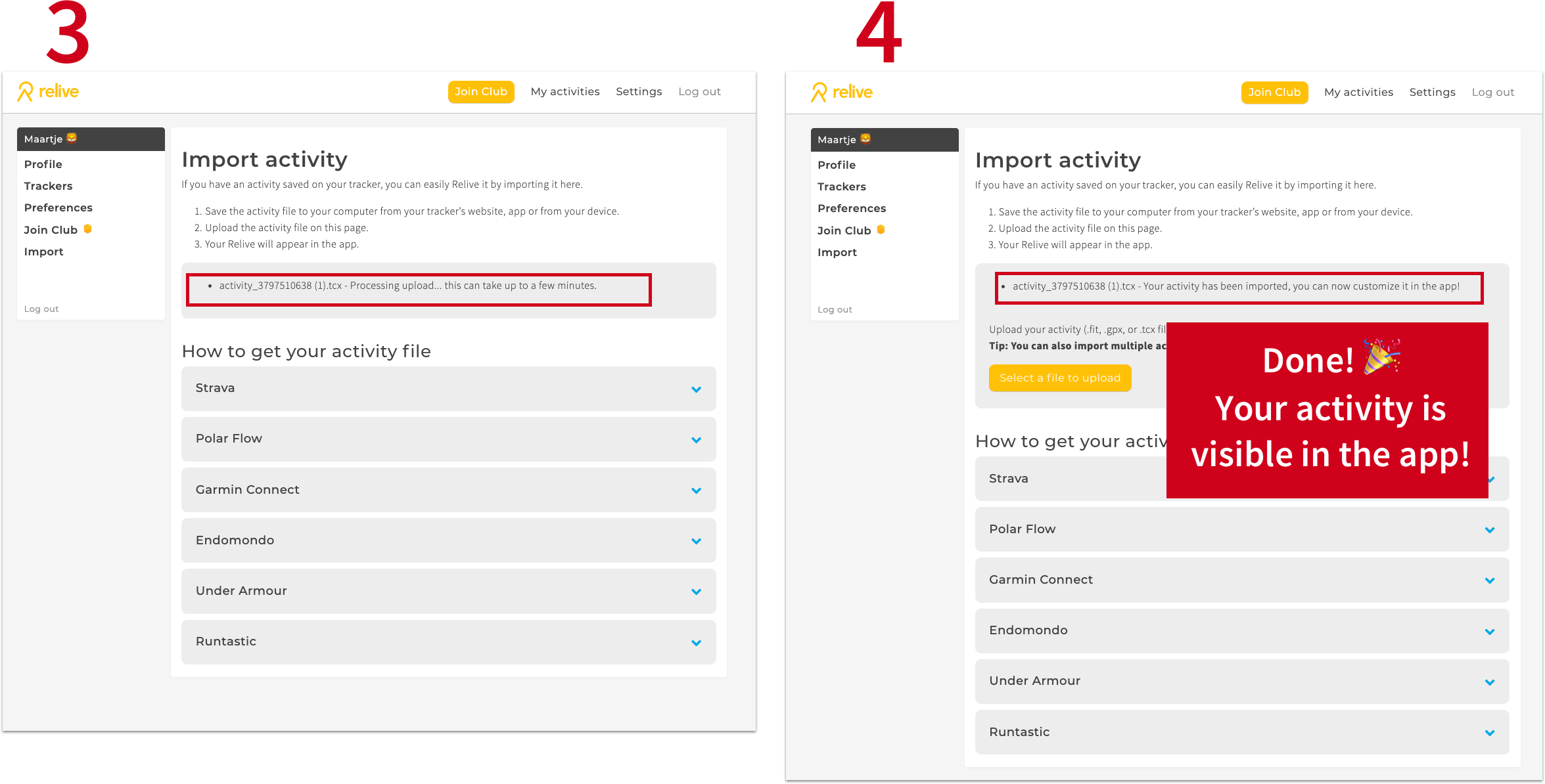 Import an activity - Relive Support