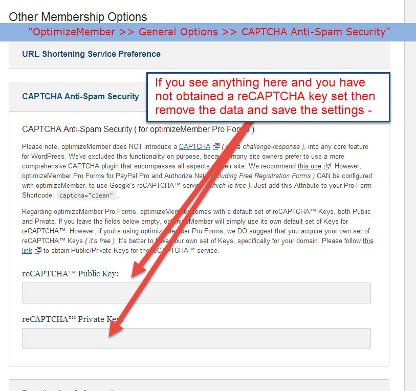 Registration Form reCAPTCHA showing error message - OptimizePress