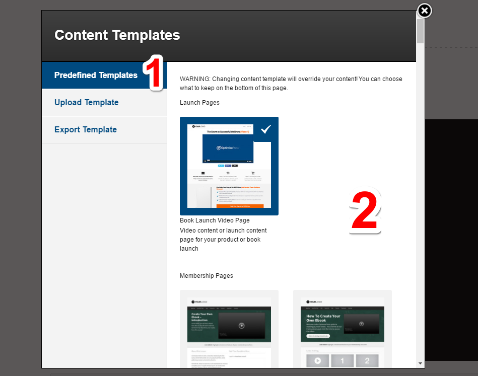 Changing the content template in an existing Live Editor