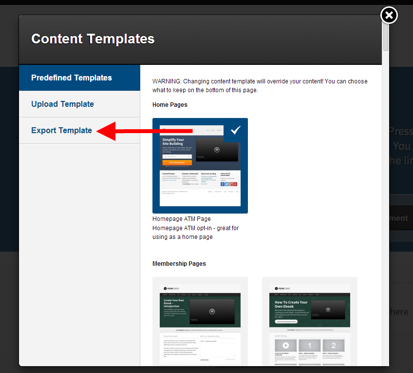 How to export a page template - OptimizePress Knowledge Base