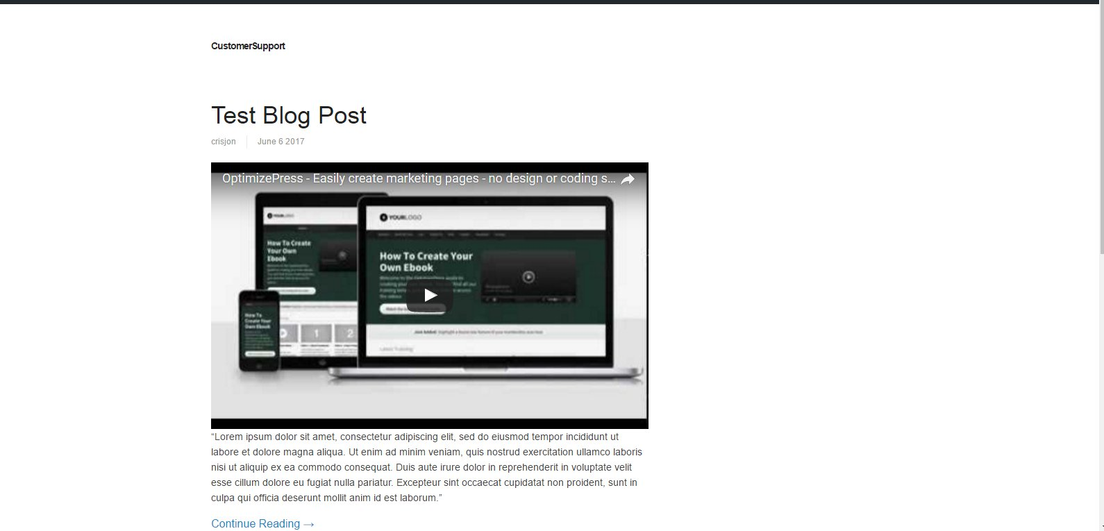 Adding featured video on blog post - OptimizePress Knowledge