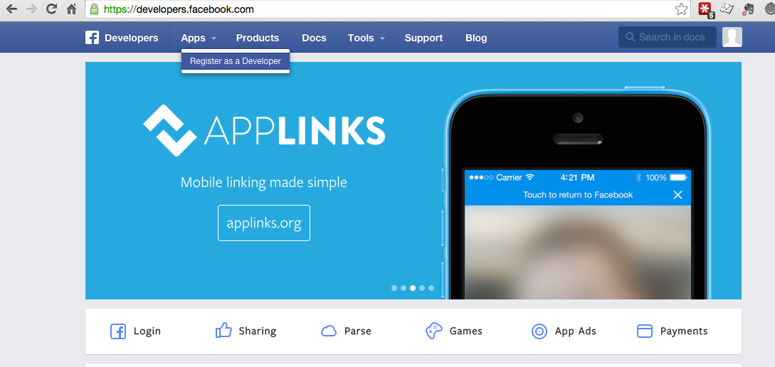 Create a Facebook App ID for social sharing element