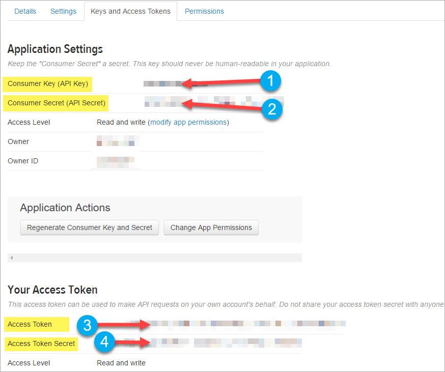 Create Twitter app keys for social sharing element