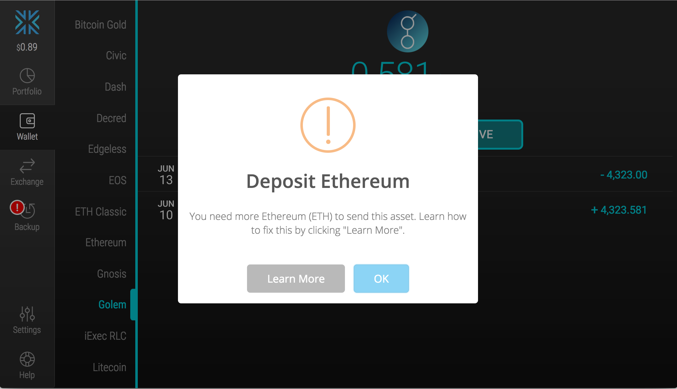 To send or exchange an Ethereum-powered (ERC20) asset, Exodus requires you  to have a minimum of 0.005 Ethereum (ETH) in your Exodus wallet.