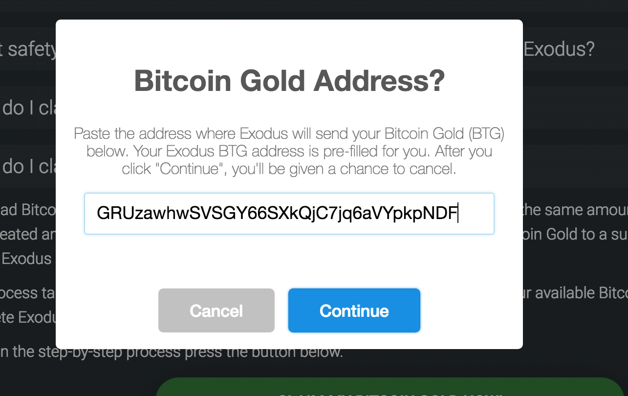 How do i claim bitcoin gold exodus knowledge base step 6 exodus will now check your wallet and count up all your available bitcoin gold to send out depending on how many transactions you have this ccuart Gallery