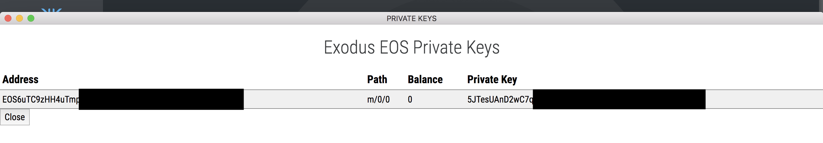 Exodus - View Private Key