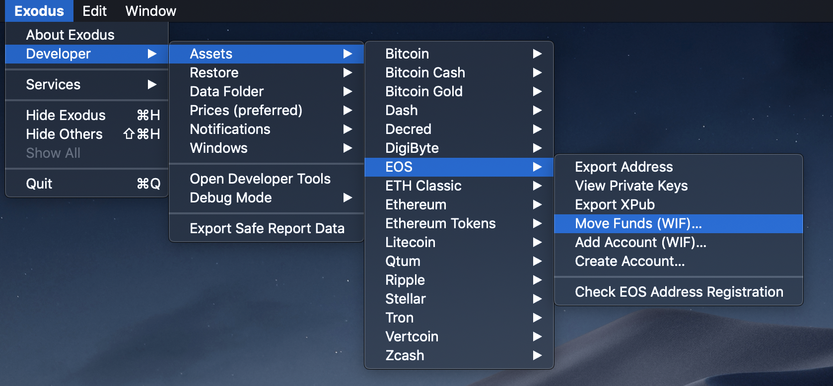 EOS: Developer Menu Move Funds (WIF) - Exodus Support