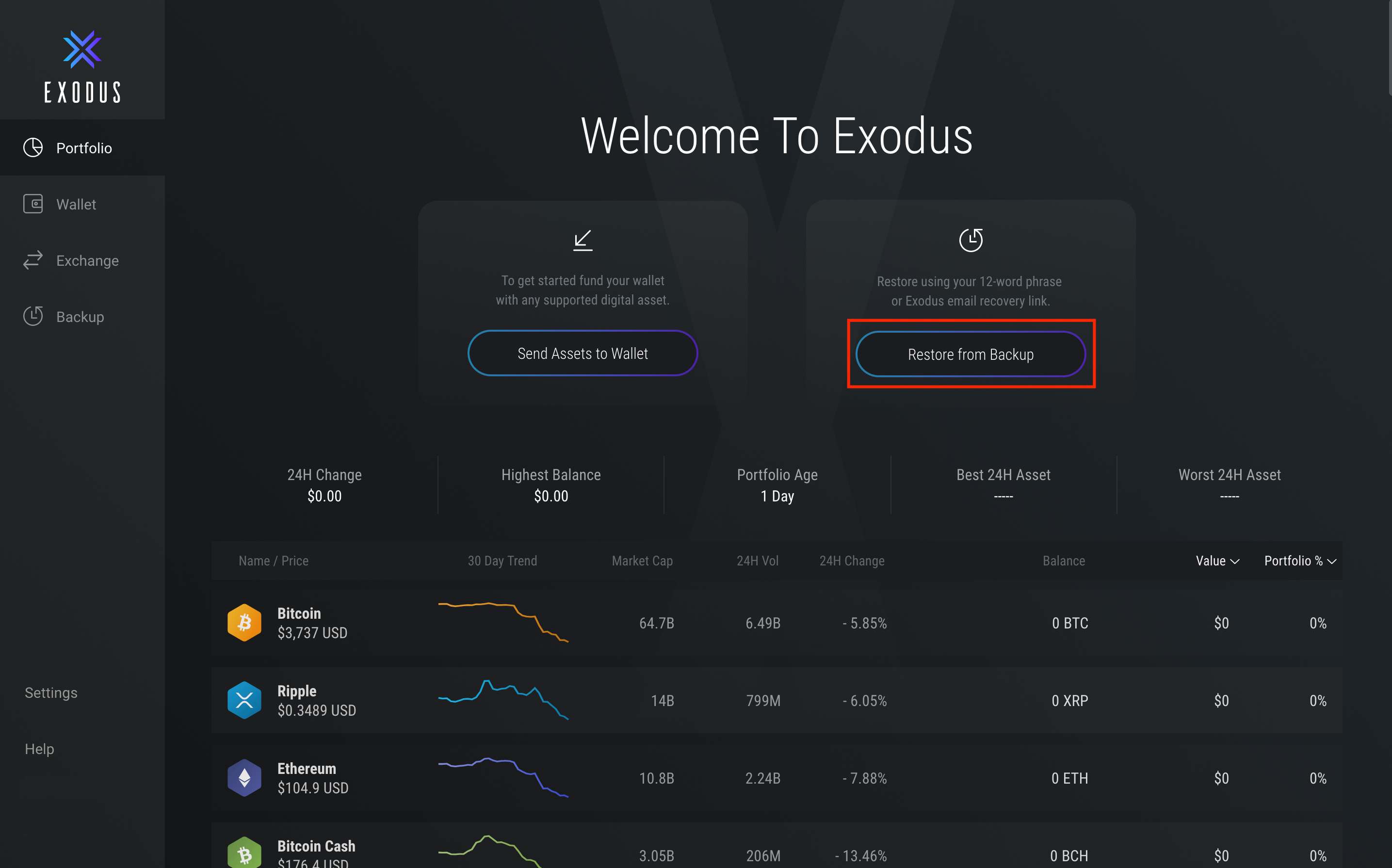 How do I restore from my 12 word recovery phrase? - Exodus Support