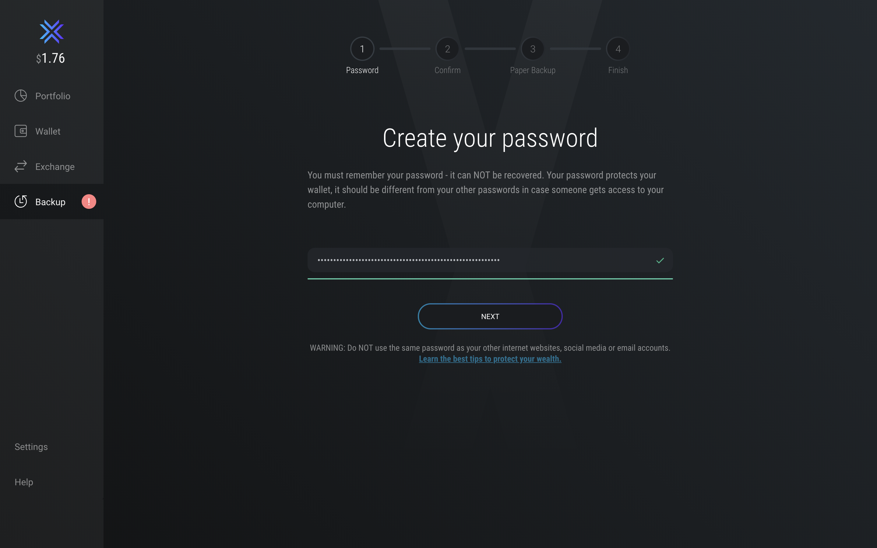 Exodus Wallet Backup Process - Create a Password