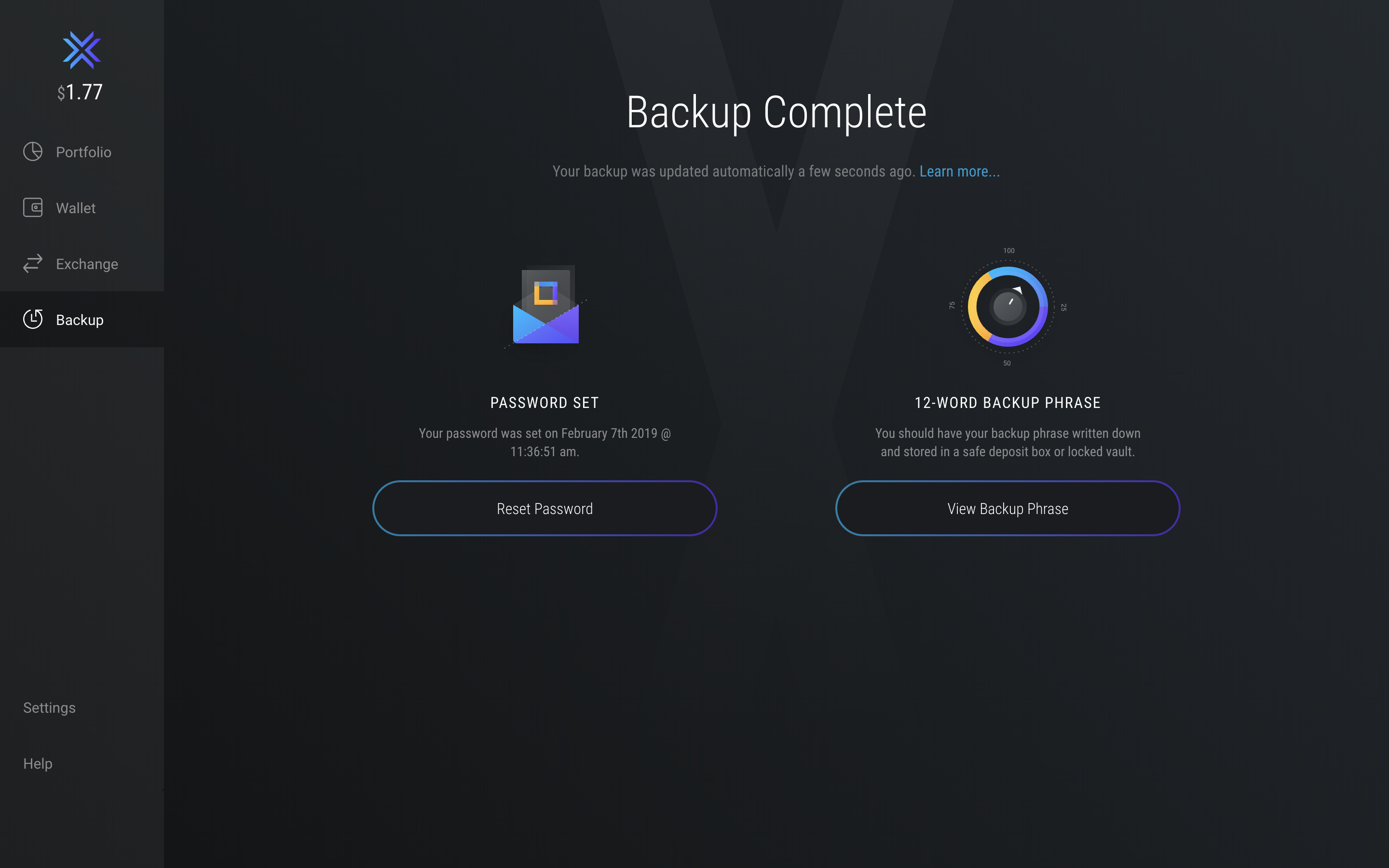 Exodus Wallet - Backup Process Complete