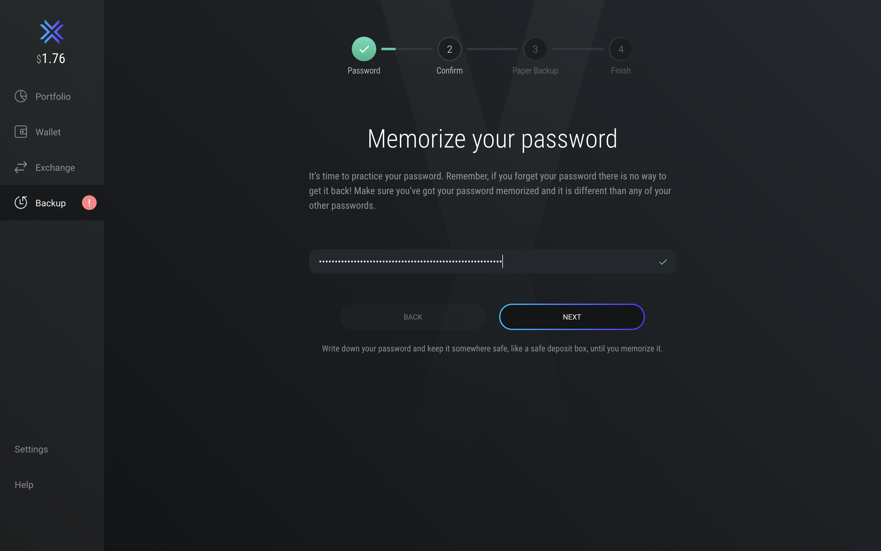 Exodus Wallet Backup Process - Memorize your Password