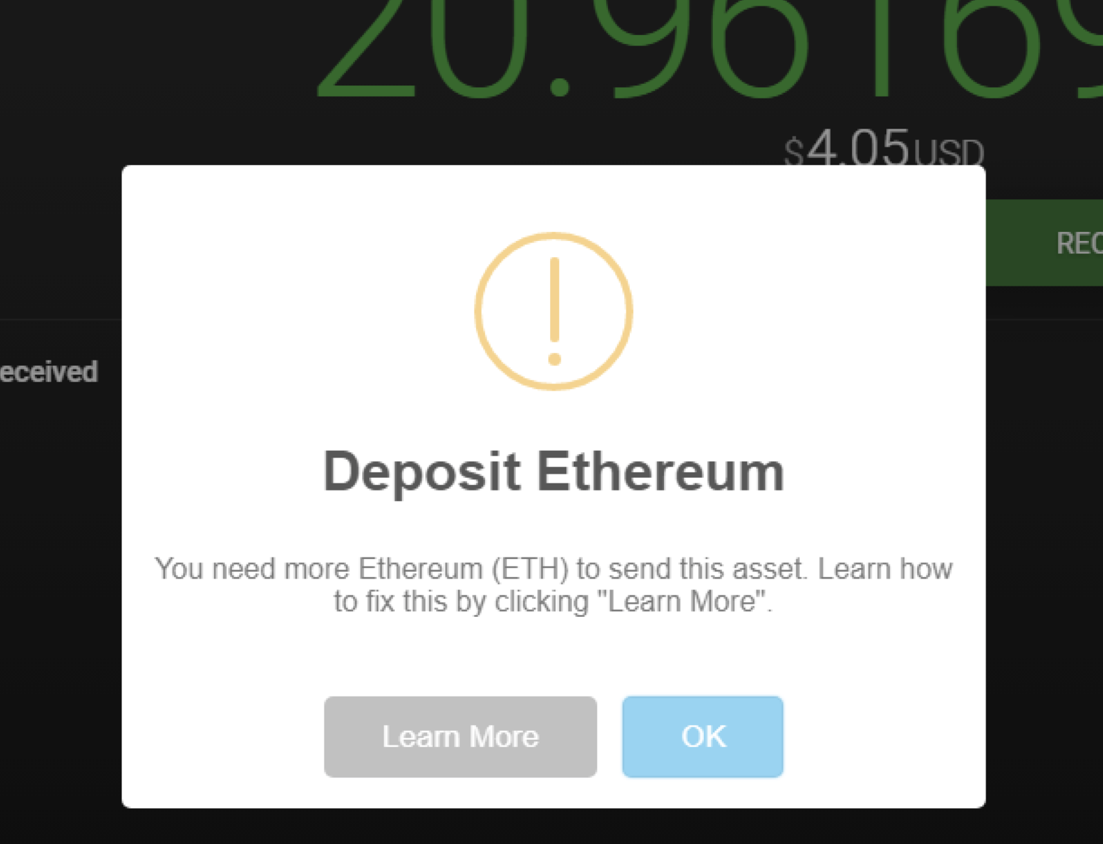 Exodus Desktop - ETH Network Fees