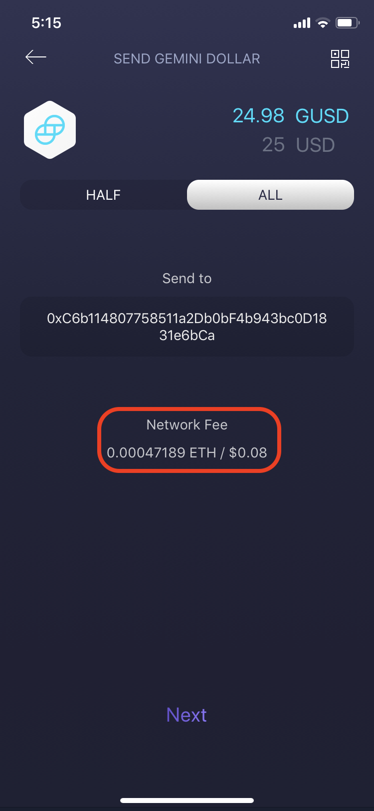 Exodus Mobile - ETH Network Fees