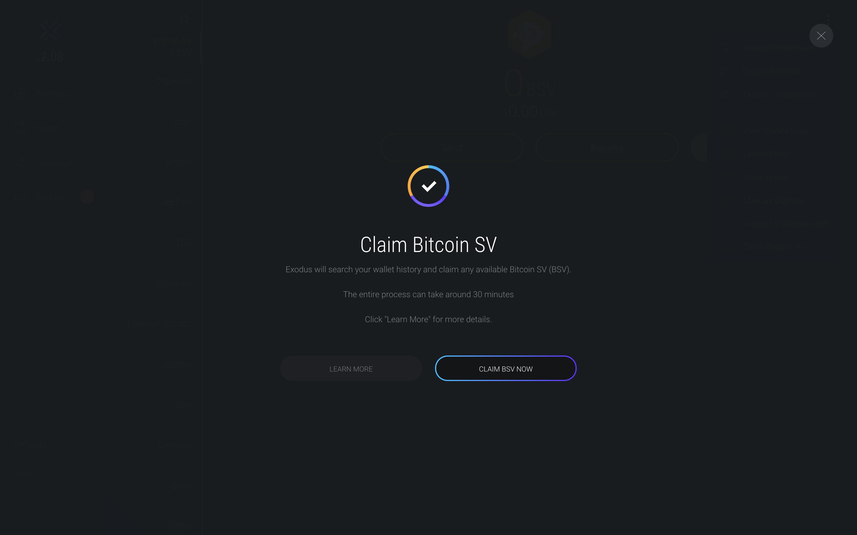 How Do I Claim Bsv Exodus Support -