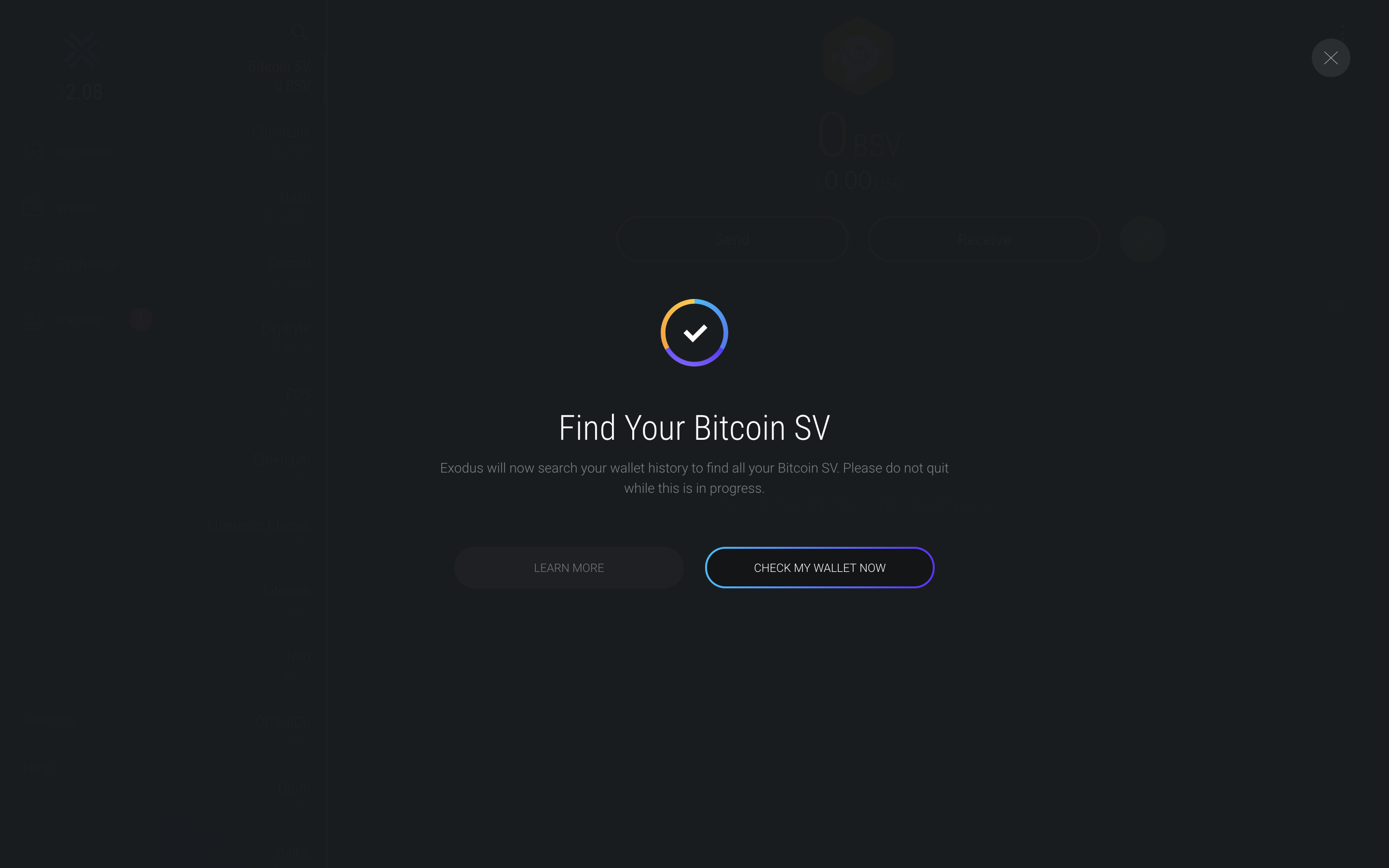 Exodus Wallet - Find Your Bitcoin SV