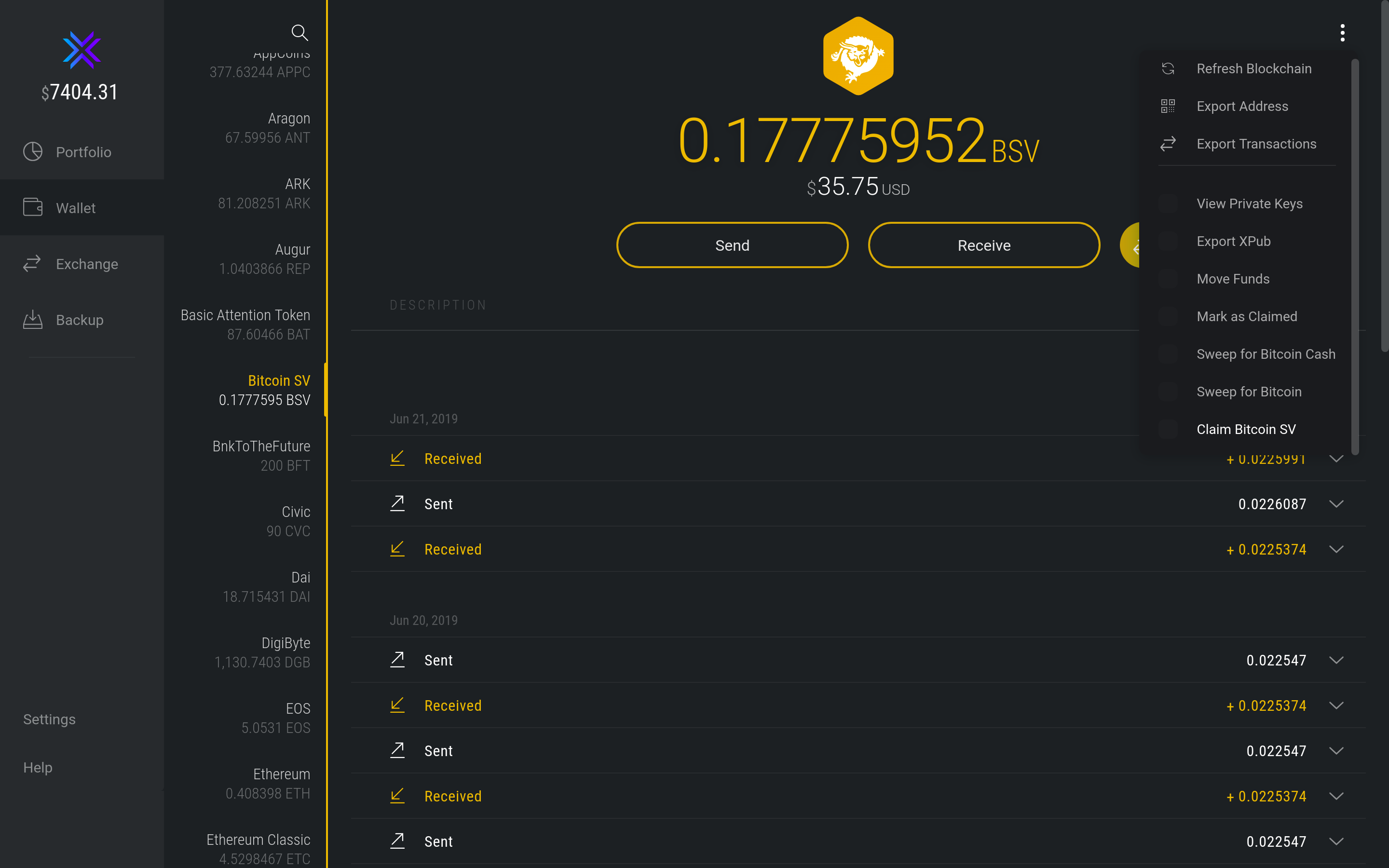 How do I split BCH/BSV held on another wallet? - Exodus Support