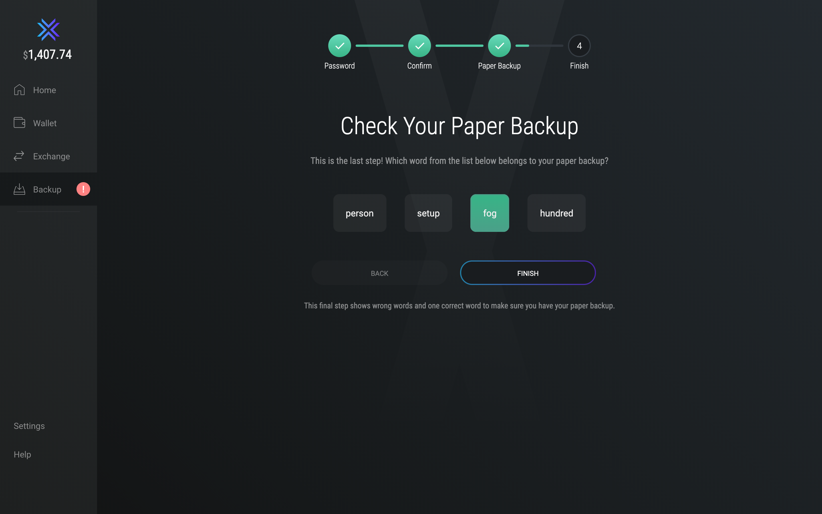 Exodus Wallet - Confirm your Paper Backup
