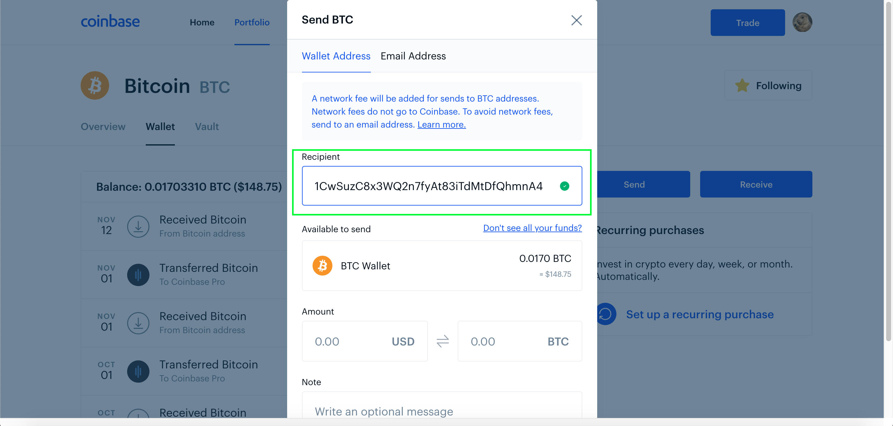 is coinbase a bitcoin wallet