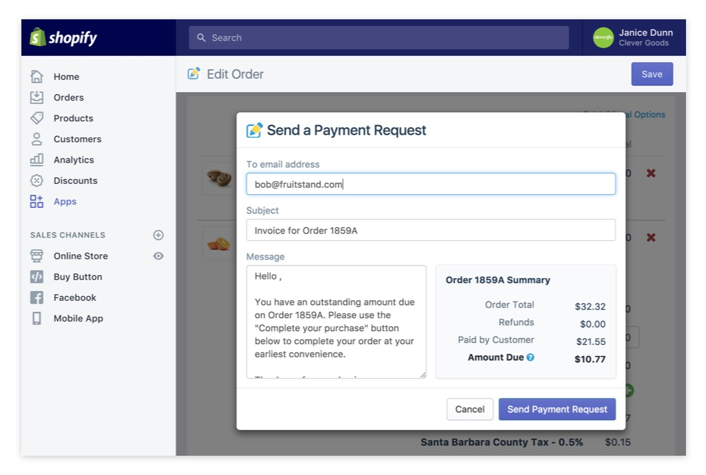 Edit Order Payment Request details