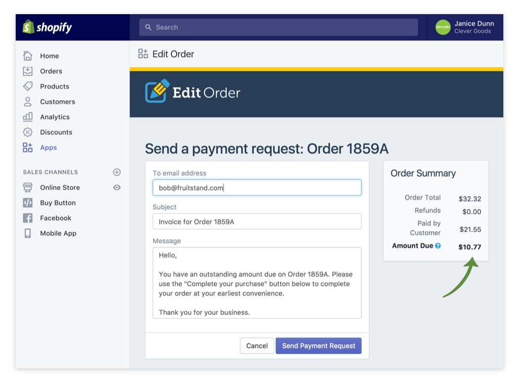Edit Order Payment Request - Send Later Details