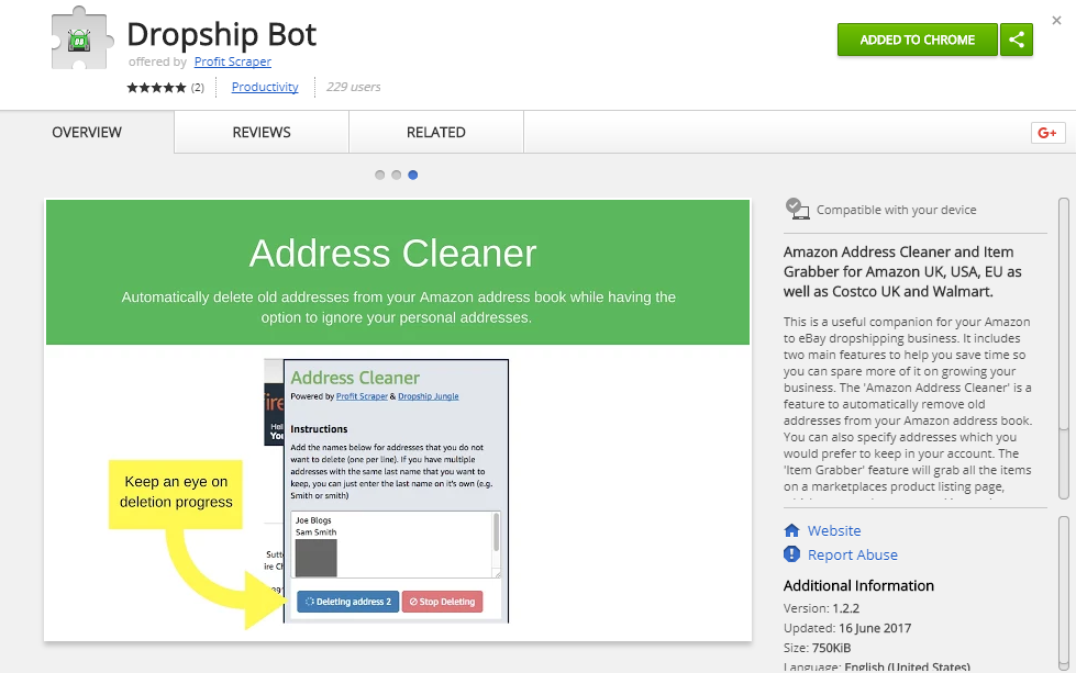 Easily grab your own items with our Dropship Bot Chrome
