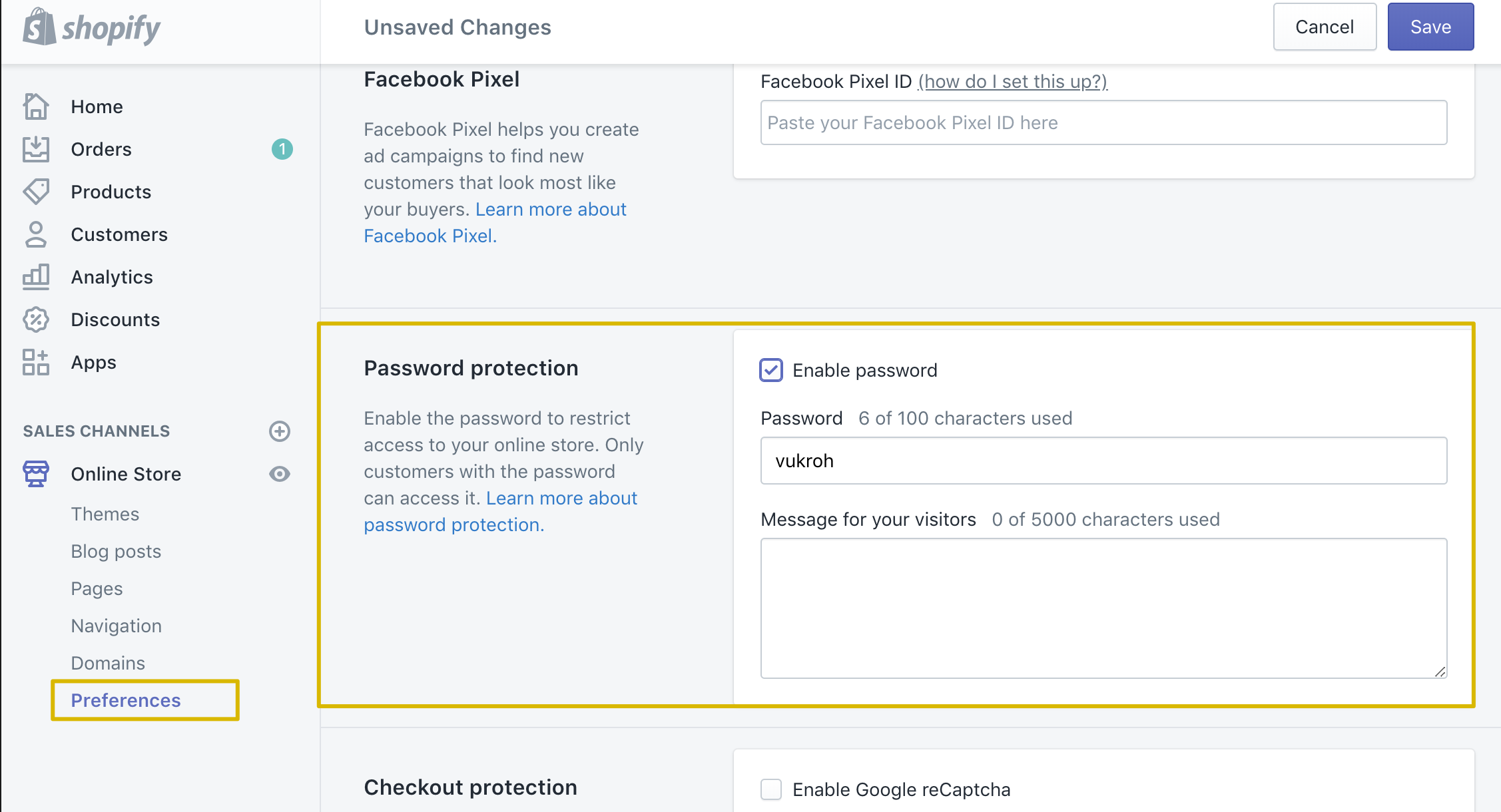 How to set up a password page (or coming soon page) - We are