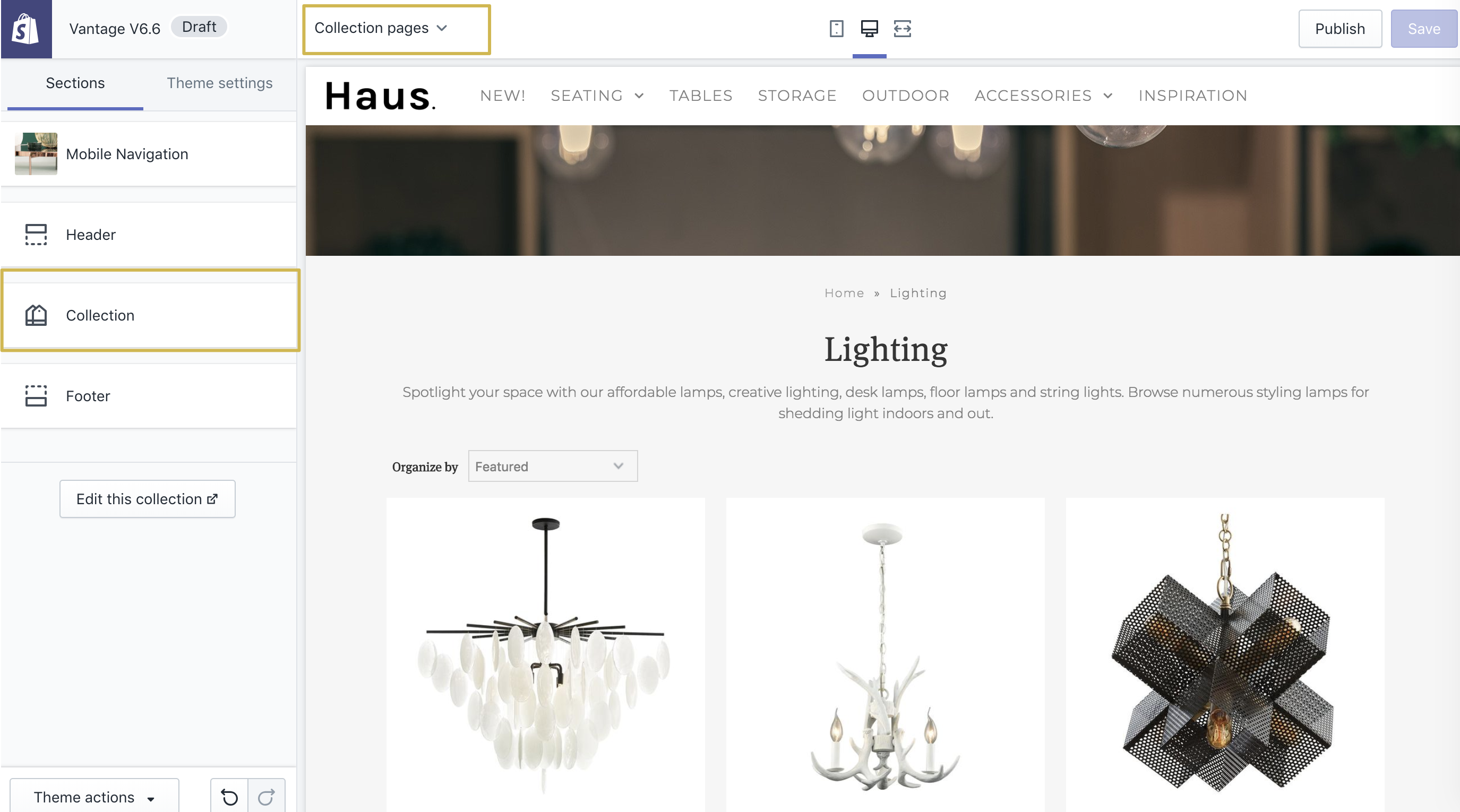12  Vantage Theme: Setting up the Collections Page - We are